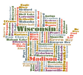word cloud map of Wisconsin state