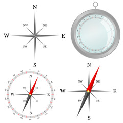compass in silver color in part vector illustration
