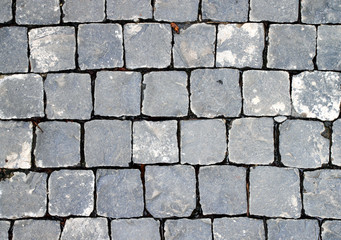 Old cobblestone road. Abstract background. Close up.