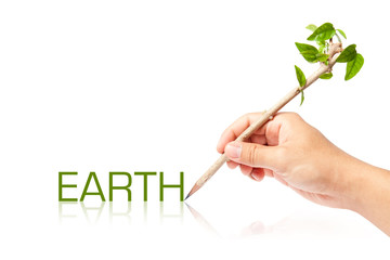Earth wording with creative pencil with green tree on white back