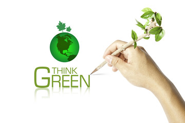 Hand writing Think Green Ecology Concept