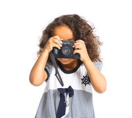 Happy mulatto girl with camera