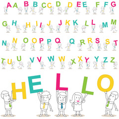 Geschäftsleute, Alphabet, bunt, jeder Buchstabe zweifach