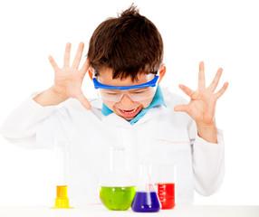 Boy doing experiments
