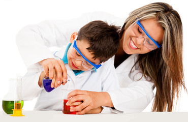 Mother and son playing scientists