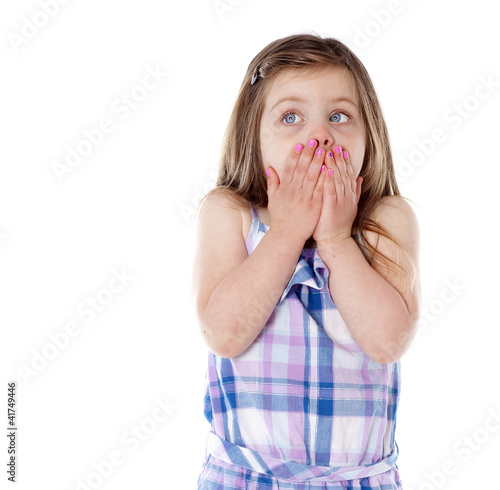 Young girl with hands over mouth on white