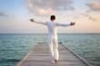 Enjoying pure freedom   Man on a jetty