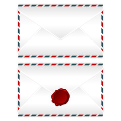 Envelope with and without wax seal over white