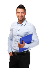 portrait of a happy businessman with blue folder