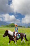 Horseback riding - lovely cowgirl is riding a pony poster