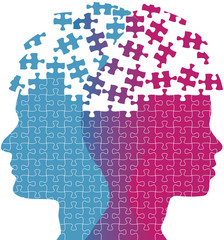 Man woman faces mind thought problem puzzle