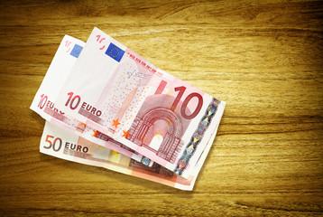 euro banknotes on desk