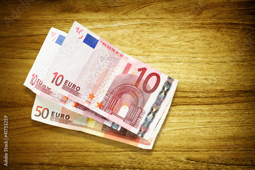 euro banknotes on desk