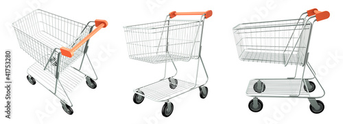 Set of trolley from the supermarket. High res 3d render