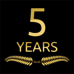 Golden laurel wreath 5 years