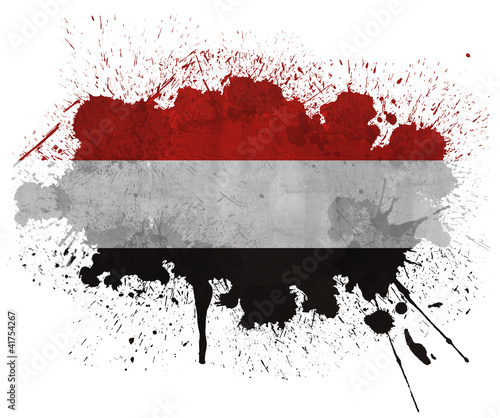Yemen paint splatter grunge flag