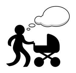 Woman and pram with speech bubble