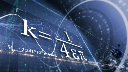 PHYSICS, SCIENCE. ABSTRACT BACKGROUND WITH DIFFERENT FORMULAS