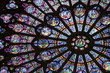 Beautiful stained glass window in Notre Dame - 41756815