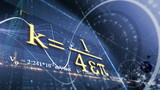 PHYSICS, SCIENCE. ABSTRACT BACKGROUND WITH DIFFERENT FORMULAS poster