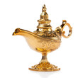 Magic Aladdin's Genie lamp isolated on white