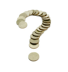 Coins baht thailand Question Mark isolated on white background