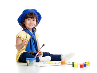 funny artist girl kid drawing and painting