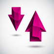 3d magenta arrow set with light background. Vector design.