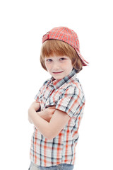 Little boy in chequered summer clothes