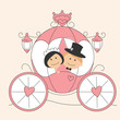 Wedding invitation with funny bride and groom in the carriage