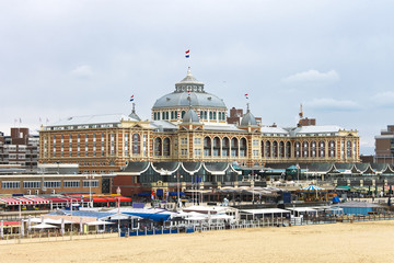 Dutch beach resort with famous Kurhaus hotel . Netherlands, Den