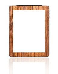 Blank digital PC tablet wood mount designed by photographer