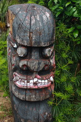 traditional korea wood sculpture in jeju island