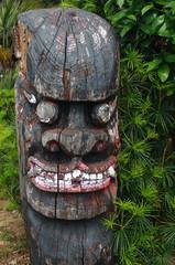 traditional korea wood sculpture in jeju island