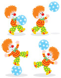 circus clown playing with a ball poster