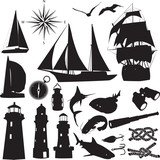silhouettes of marine recreation