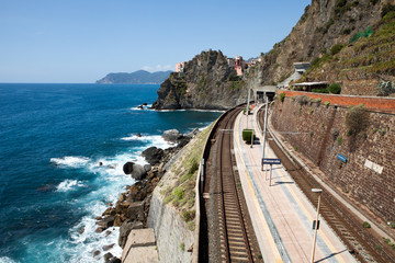 railway station of Manarola in Cinque Terre