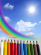 rainbow and colorful crayons abstract background