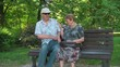 Senior couple in the park - funny