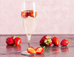 strawberry with champagne glass