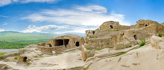 panorama of medieval cave city/monastery, Georgia