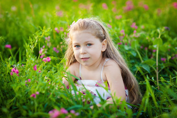 Adorable kid on the meadow