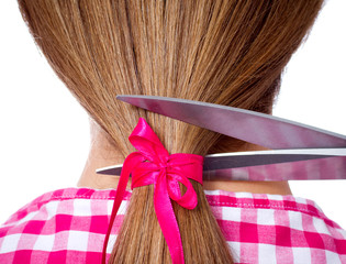 long hair and scissors cutting - back