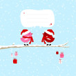 2 Red Birds On Tree Gifts Speech Bubble Blue