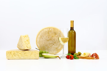 various types of cheese with wine