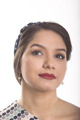 Beautiful Latina Young Woman in dress moles and diadem