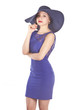 beautiful latina model in a blue dress