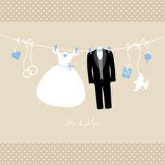 "Hanging Wedding Couple & Symbols ""Mr. & Mrs."" Blue/Beige Dots"