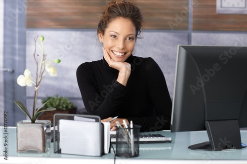 Portrait of beautiful businesswoman in office