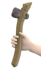 3d render of hand with prehistoric tool